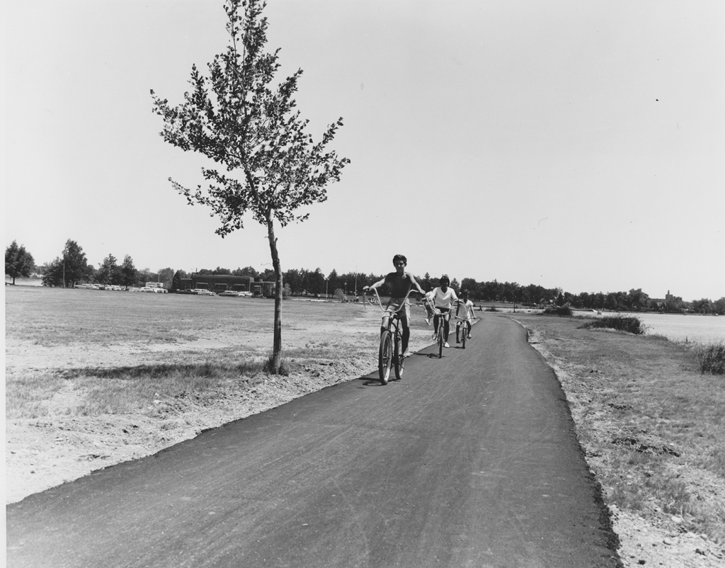 "A bikeway on ""Sloan's Lake,"" Denver Colorado, from 1967 -- photo from the Bureau of Outdoor Recreation, in the National Archives and Records Administration NARA II RG 368 G"