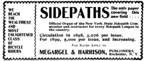 "An advertisement for ""Sidepaths"" in the American Newspaper Directory, volume 32 number 1, p 756."