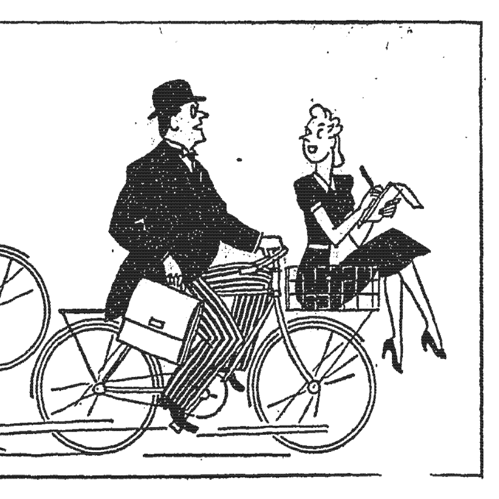 Detail from McCall, R. And We'll Look Sweet Upon the Seat of a Bicycle Built for Two. Washington Post, March 29, 1942, p. B2