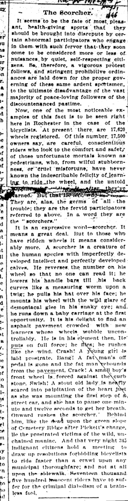 """""""The Scorcher,"""" Rochester Post-Express, Rochester, NY, May 5, 1896."""